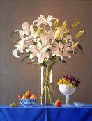 cuadros de flores blancas y uvas verdes al oleo