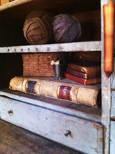 Old books and basket. Rag balls.
