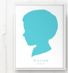 Modern Child Silhouette Color on White Print - Custom Personalized Boy or Girl Name Art for Nursery or Kids 11x14 Mothers Day Personal. $48.00, via Etsy.