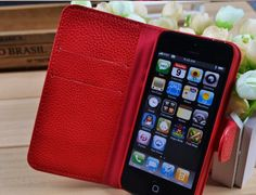 Suede iphone 5 case, red leather iphone 5 sleeve luxury iphone cases covers for iphone 5 generation. $17.60, via Etsy.