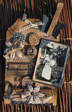 tinting the edges of a black and white photo - art journaling