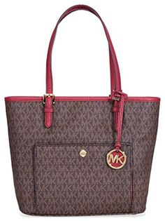 Michael Michael Kors Mk Jet Set Signature Leather Shoulder Bag (Medium, Brown / Mulberry) >>> Read more info by clicking the link on the image. Leather Shoulder Bag, Shoulder Bags, Medium Bags, Official Store, Medium Brown, Jet Set, Image Link, Louis Vuitton, Michael Kors