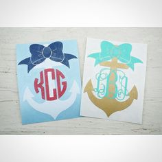 This listing includes the following:  1 – Big Bow Anchor Monogram Decal in selected size and color    Ordering Instructions:  Choose size