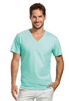 Heren t-shirt met korte mouwen en V-hals met brede rib boord    - 100% halfgekamd katoen  - grammage: 150 g/m2  - jersey  - ook verkrijgbaar in een dames model  - regular fit