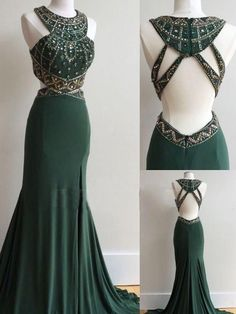 Dark Green Prom Dresses Column Scoop Rhinestone Long Prom Dresses,ED250001 #dressesforteens