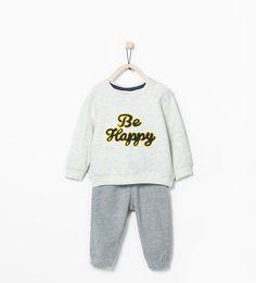 """Be happy""ツーピースジャージ-Shop by look-ベビーボーイ ( 3ヶ月- 3歳)-キッズ | ZARA 日本"