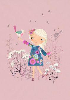 Items similar to Lollipop.Giclee print of an original illustration on Etsy Illustration Mignonne, Children's Book Illustration, Art Mignon, Jolie Photo, Cute Drawings, Art Lessons, Fine Art Paper, Cute Art, Art For Kids