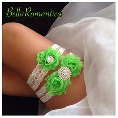 Lime Green Wedding  Wedding Garter  Lime Green by BellaRomantica, $21.99