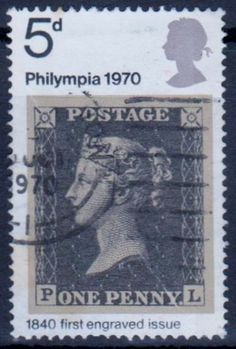Great Britain stamp honoring the Philympia stamp exposition of 1970 and the Penny Black stamp of 1840.