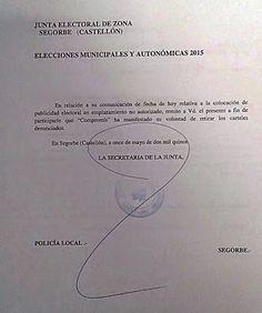Tribuna Popular de Segorbe: LA JUNTA ELECTORAL OBLIGA A PARTICIPA Y COMPROMÍS ...