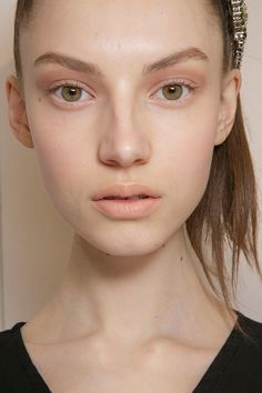 Fall, Winter 2015 Makeup Trends #1 Subdued Pastels -soft, warm neutral eyes to delicate peach, cream, and pink sorbet hues on the lips. INSPIRATION • Very fresh, bright BEAUTY • Groomed brows • Perfect nude skin- very matte powder • Red/brown cream shadow on the sockets, soft layers of cream • Brown mascara • Beige liner inside the eye • Pastel pink/ pastel orange lipstick pressed sheerly on lips • Small amount of blush pink on the cheeks