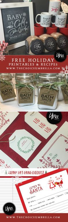 FREE Holiday printables for hot beverage station, hot cocoa bar, homemade body butter, holiday gift tags and more!