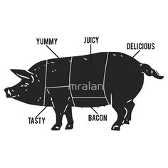 Funny #Pig #Butcher #Chart #Diagram #Tshirt & Stickers
