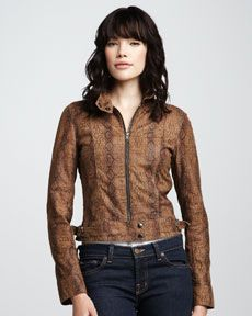 What Goes Around Comes Around Blaze Snake-Print Leather Jacket