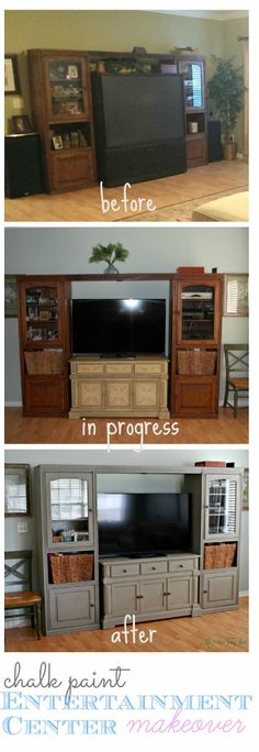 Affordable DIY Entertainment Center Makeover with Annie Sloan Chalk Paint in French Linen| missfrugalfancypants.com