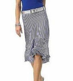 Ralph Lauren 10 Silk Skirt Blue Rockabilly Nautical Stripe Wiggle Pin Up Layered