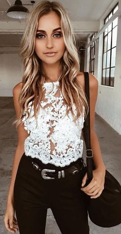 #summer #tigermist #outfits |  White Lace Crop + Black Denim