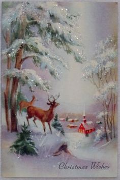 #832 60s Deer in the Glittered Woods-Vintage Christmas Greeting Card