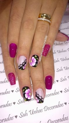 119 fotos de unhas com glitter Purple Nail Art, Glitter, Trendy Nails, Manicure And Pedicure, Toe Nails, Nail Art Designs, Hair Beauty, Purple Nail, Art Nails