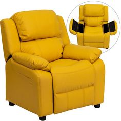 Deluxe Heavily Padded Contemporary Yellow Vinyl Kids Recliner with Storage Arms BT-7985-KID-YEL-GG by Flash Furniture