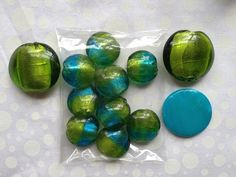 Green & Blue Set of Beads ~ Foil Lined. Starting at $10 on Tophatter.com!