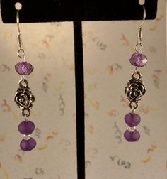 Silver Rose & Purple Earrings by CinnamonCreations14 on Etsy