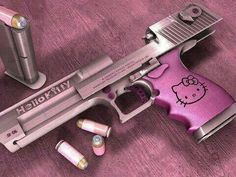 This is a real gun! I am totally against guns and using Hello Kitty to glamorize violence is disgusting! However, it does prove my point that you can get absolutely anything and everything in Hello Kitty style! Hello Kitty Rosa, Hello Kitty Gun, Goodbye Kitty, Armas Wallpaper, Pink Guns, Armas Ninja, Desert Eagle, Everything Pink, Say Hello