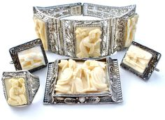 Chinese Export Bracelet Earrings Brooch Sterling Silver - The Jewelry Lady's Store