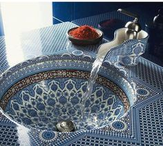 The Moroccan Tile Design of This Sink Creates an Exotic Bathroom Look trendhunter.com