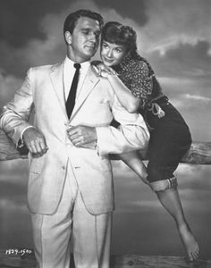 """Debbie Reynolds was pregnant with her daughter Carrie during filming of """"Tammy and the Bachelor"""" (with Leslie Nielsen). Though the film initially did poorly at the box office, the subsequent release of the. Eddie Fisher, Carrie Fisher, Old Movies, Vintage Movies, Tammy And The Bachelor, Leslie Williams, Leslie Nielsen, Debbie Reynolds, A Star Is Born"""