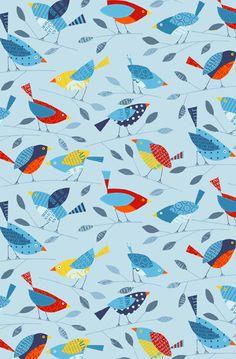 Birds wallpaper designed by Nancy Wolff | Loboloup