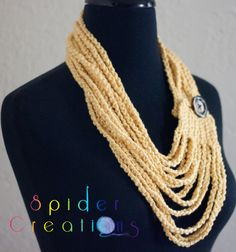 Cotton Chain Scarf Necklace in Butter Yellow $25.00