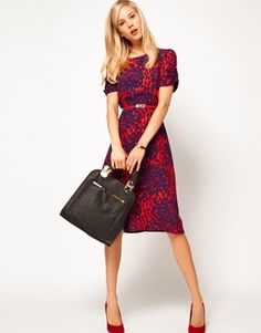 ASOS Midi Dress In Animal Print - I wouldn't have even guessed this is supposed to be animal print