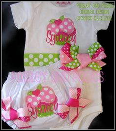 Pink and Lime Bodysuit and Bloomer Set - for baby toddler girl birthday $45  #etsy #birthday #girls