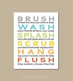 Kids Bathroom Art Prints Brush Wash Splash Subway Styletypography Modern Home Decor 8x10 11x14 13x19 Childrens Wall Art Unframed