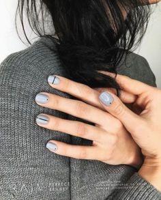 pale blue gray nail polish with minimal black art design, pale blue gray color n. - pale blue gray nail polish with minimal black art design, pale blue gray color n… pale blue gray - Grey Nail Polish, Black Nail Art, Gray Nails, Black Nails, Love Nails, Black Art, Leopard Nails, Pink Nails, Gel Polish