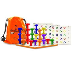 Skoolzy 24 Pegs for Peg Board Montessori Occupational Therapy Fine Motor Toy for Toddlers and Preschoolers for Color Recognition Stacking Sorting /& Counting OT