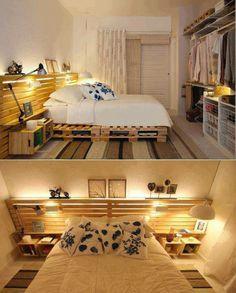 A cama toda de pallet deixa o quarto com um mais mais pessoal e íntimo, a cabeceira pega a deixa do estrado e se prolonga por toda a parede, dando a impressão de um ambiente maior e mais iluminado.