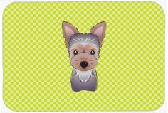 Checkerboard Lime Green Yorkie Puppy Mouse Pad, Hot Pad or Trivet BB1294MP