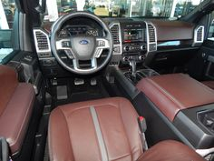 Brunello leather seats in the 2015 Ford F150 Platinum 4X4. I didn't think I would like this color but I really do. #F150