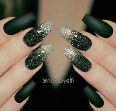Bottle Green Glittered Omber Coffin Nails. Ombre glittered bottle green coffin nails looks decent and amazing, as seen in the picture.
