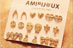 free shipping 2015 fashion gold plated Studs Earrings hot sale earrings for women and men punk earring