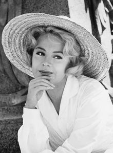 "Sandra Dee in 1961. Born Alexandra Zuck on 4/23/42 in Bayonne, NJ. Died on 2/20/05 of kidney failure due to a lifetime of drinking. An Actress and Model from 1957 to 1983. She is best known for her portrayal of Ingenues. She earned a Golden Globe Award as one of the year's most promising new comers for her performance in ""Until They Sail"", 1958. She became a teenage star for ""Imitation of Life"" and ""Gidget"", both in 1959, which made her a household name. She was married only once with one"