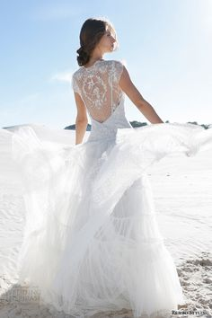rembo styling bridal 2015 margot wedding dress illusion neckline lace cap sleeves back view