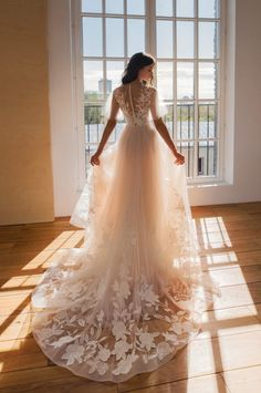 Items similar to Floral lace wedding dress, tulle sleeve bridal dress, wedding dress with open back and pearl buttons, long tulle custom bridal dress on Etsy Designer Wedding Dresses, Bridal Dresses, 15 Dresses, Champaign Wedding Dress, Tulle Dress, Lace Dress, Saree Wedding, Dress Wedding, Wedding Hair Accessories