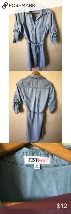 """Just Fab Light Blue Button Down Collared Dress, S Light blue soft cotton & viscose button down dress.  , Denim look , but light blue , mid length , below the knee , 34"""" approx. buttoned sleeves 3/4 & belted ,  very gently worn by Just Fab , Small JustFab Dresses Midi"""