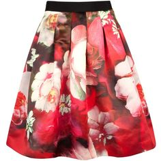 Ted Baker Monny Rose on Canvas Full Skirt, Bright Pink (€125) ❤ liked on Polyvore featuring skirts, mini skirts, bottoms, saias, gonne, red floral skirt, red flared skirt, flower print skirt, flared skirt y floral skirt