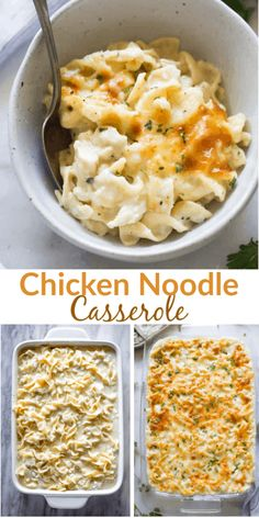 Comforting chicken noodle casserole with a simple homemade white sauce, cheese, chicken and egg noodles. My family loves this easy recipe! via dinner casserole Chicken Noodle Casserole Chicken And Egg Noodles, Chicken Noodle Casserole, Chicken And Noddles, Fun Easy Recipes, Easy Meals, Simple Dinner Recipes, Homemade White Sauce, Recipe Chicken, Chicken Recipes