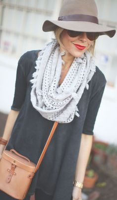 From Happily Grey – Free People shirt + anthro scarf, with straight-leg or skinny jeans. From Happily Grey – Free People shirt + anthro scarf, with straight-leg or skinny jeans. Look Boho, Boho Style, Style Me, Mode Outfits, Fall Outfits, Casual Outfits, Party Outfits, Travel Attire, Style Work
