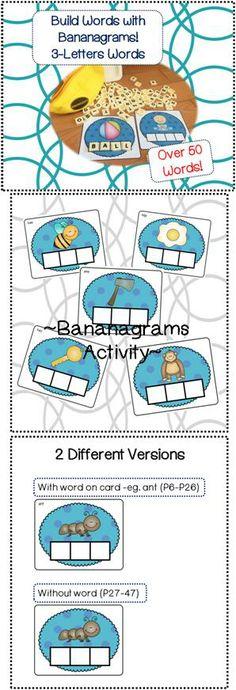 Bananagrams Word Builder Cards (50+ Cards) - 3 Letter Words!